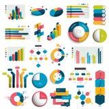 Le méga a placé des graphiques de conception des affaires 3D, diagrammes, calibres, plans Photos libres de droits