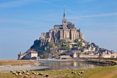法国le michel mont诺曼底st 免版税图库摄影