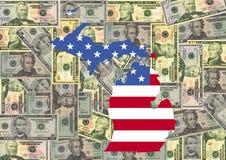 Le Michigan avec l'indicateur et les dollars Photos libres de droits