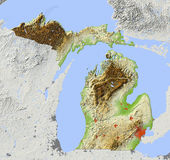 Le Michigan, carte d'allégement Photographie stock libre de droits