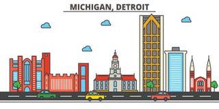 Le Michigan, Detroit Horizon de ville Image libre de droits