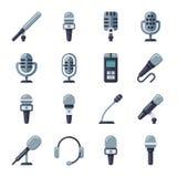 Le microphone, dictaphone, interviewent les icônes plates de vecteur d'enregistreur numérique Photo stock
