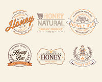 Le miel et les abeilles en dirigent des insignes et des labels pour illustration stock