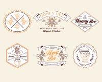 Le miel et les abeilles en dirigent les insignes, labels pour utilisation illustration libre de droits