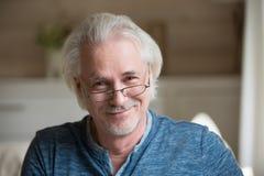 Le milieu avec du charme a vieilli l'homme d'une chevelure gris regardant l'appareil-photo, portrait images stock