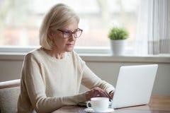 Le milieu mûr sérieux a vieilli la femme d'affaires à l'aide de l'ordinateur portable dactylographiant la fin de support photos stock