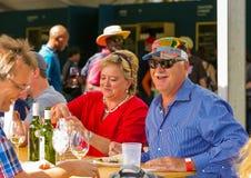 Le milieu a vieilli des couples appréciant le vin avec des amis à la SCU d'hiver Image libre de droits