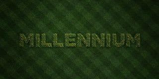 Le MILLÉNAIRE - lettres fraîches d'herbe avec des fleurs et des pissenlits - la redevance rendue par 3D libèrent l'image courante Images stock