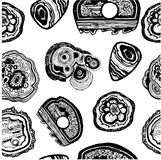 Le minerai lapide noir et blanc tiré par la main de modèle sans couture illustration de vecteur