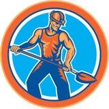 Le mineur Hardhat Shovel Circle rétro Images stock