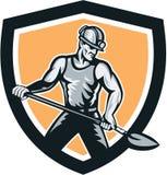 Le mineur Hardhat Shovel Shield rétro Photographie stock libre de droits
