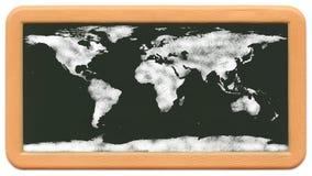 Le mini tableau de l'enfant - carte du monde de craie Photos libres de droits