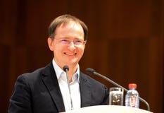 Le ministre de la culture de la Fédération de Russie Vladimir Medinsky donne une conférence dans Kaluga photos stock