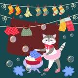 Le minou mignon lave des vêtements Illustration de vecteur Belle carte avec le beaux animal et bulles illustration de vecteur