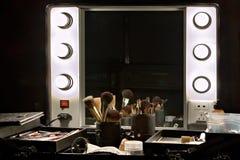 Le miroir des coulisses et composent le positionnement images stock