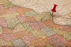 Le Mississippi et rivières Missouri Sur la carte de cru Images libres de droits