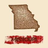 Le Missouri a affligé la carte illustration stock