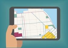 Le mobile de Digital trace le concept à titre illustratif avec la main tenant le comprimé Photo stock