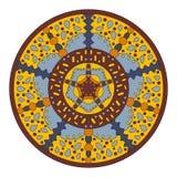 Le modèle circulaire symétrique du mandala coloré, dirigent en rond Photos stock