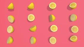 Le modèle coloré avec l'agrume jaune a découpé 3D les éléments en tranches, l'enregistrement vidéo 4K loopable illustration stock