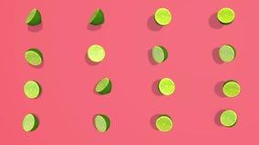 Le modèle coloré avec l'agrume vert a découpé 3D les éléments en tranches, l'enregistrement vidéo 4K loopable illustration libre de droits