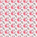Le modèle délicieux savoureux de belle belle mer lumineuse colorée d'été des crabes rouges et l'aquarelle en pastel tendre de coq Image libre de droits