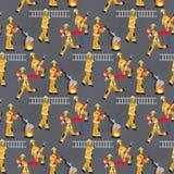Le modèle d'image de vecteur groupe des sapeurs-pompiers au travail illustration libre de droits