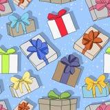 Le modèle de fête coloré sans couture avec des cadeaux et des surprises, se perfectionnent pour n'importe quelles vacances, nouve illustration stock