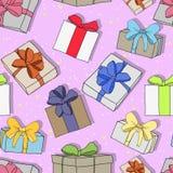 Le modèle de fête coloré sans couture avec des cadeaux et des surprises, se perfectionnent pour n'importe quelles vacances, nouve illustration de vecteur