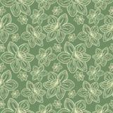 Le modèle de fleurs sans couture de vecteur, fond de vintage avec la ligne drawed des frowers, au-dessus de contexte vert en past Images stock