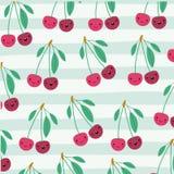 Le modèle de fruits de kawaii de cerises a placé sur les lignes décoratives fond de couleur illustration libre de droits