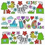 Le modèle de jardin d'enfants, les enfants tirés font du jardinage des éléments modèle, dessin de griffonnage, illustration de ve illustration libre de droits