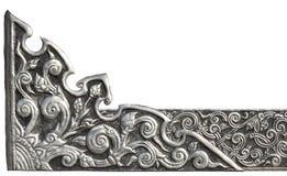 Le modèle de la plaque de métal argentée avec la fleur a découpé le fond Image stock