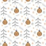 Le modèle de Noël avec de nouvelles années jouent la couleur d'or se composant de l'arbre de Noël, la boule, ligne style pour l'a photographie stock libre de droits
