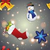 Le modèle de nouvelle année avec le bonhomme de neige, la chaussette pour des cadeaux, la cloche et l'arbre de Noël jouent Photo stock