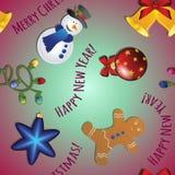 Le modèle de nouvelle année avec le bonhomme de neige, le bonhomme en pain d'épice, la cloche, la guirlande et l'arbre de Noël jo Image libre de droits