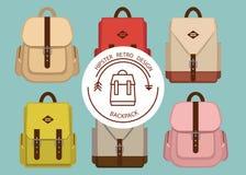 Le modèle de paquet de hippie avec l'école à la mode de rétro mode se balade, illustration tissu, style, backpac de toile de vint Photos libres de droits
