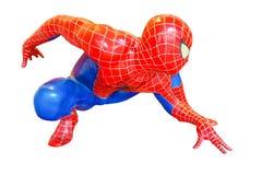 Le modèle de Spider-Man se reposent vers le bas est isolé sur le fond blanc du caractère de la concession de film de Spiderman photographie stock libre de droits