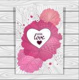 le modèle de style de Zen-griffonnage et le cadre de coeur dans le lilas rose avec des aquarelles souillent sur le fond en bois g Image stock