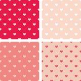 Le modèle de vecteur de tuile a placé avec les coeurs roses, blancs et rouges sur le fond en pastel Images libres de droits
