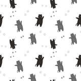 Le modèle des chats noirs et gris avec des traces des pieds Sur un fond blanc Images stock