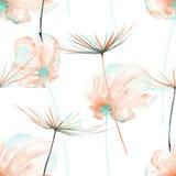 Le modèle floral sans couture avec le rose d'aquarelle et la menthe aèrent des fleurs et des fuzzies de pissenlit illustration de vecteur