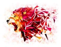 Le modèle géométrique de bas lion de polygone éclatent filtre de couleur de l'eau Photo stock