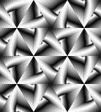 Le modèle géométrique monochrome sans couture miroitant doucement de la lumière aux tons foncés créent l'illusion de la profondeu Illustration de Vecteur