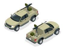 Le modèle isométrique du camion pick-up a armé avec la mitrailleuse Les policiers d'ops de Spéc. FRAPPENT dans l'uniforme noir So Photos libres de droits
