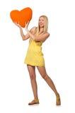 Le modèle juste caucasien dans la robe jaune d'été d'isolement sur le blanc Images libres de droits