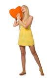 Le modèle juste caucasien dans la robe jaune d'été d'isolement sur le blanc Photographie stock