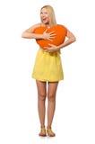 Le modèle juste caucasien dans la robe jaune d'été d'isolement sur le blanc Image stock