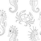 Le modèle marin avec le crabe et les hippocampes illustration libre de droits