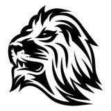 Le modèle monochrome avec des lions se dirigent pour un logo ou un emballage Photo stock